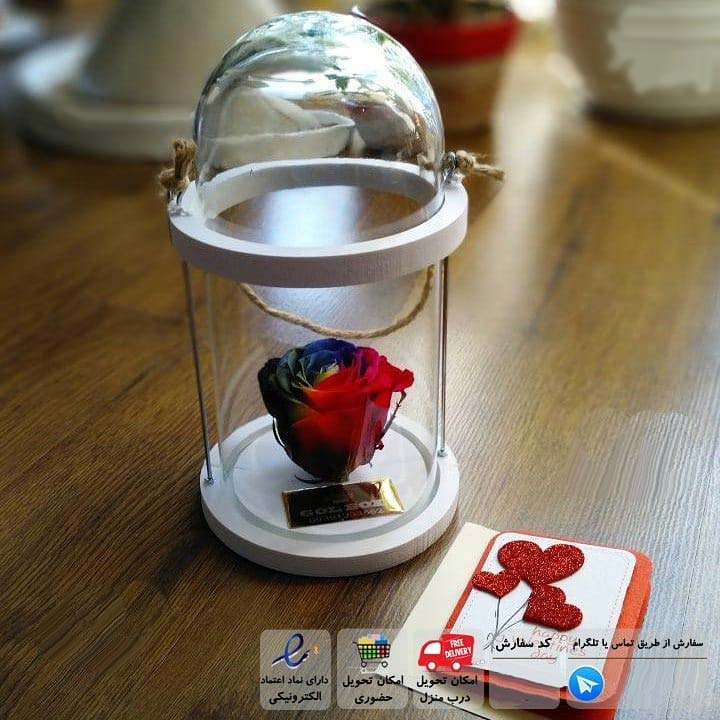 باکس رز جاودان طرح فانوس شیشه ای با گل رز رنگیم کمان