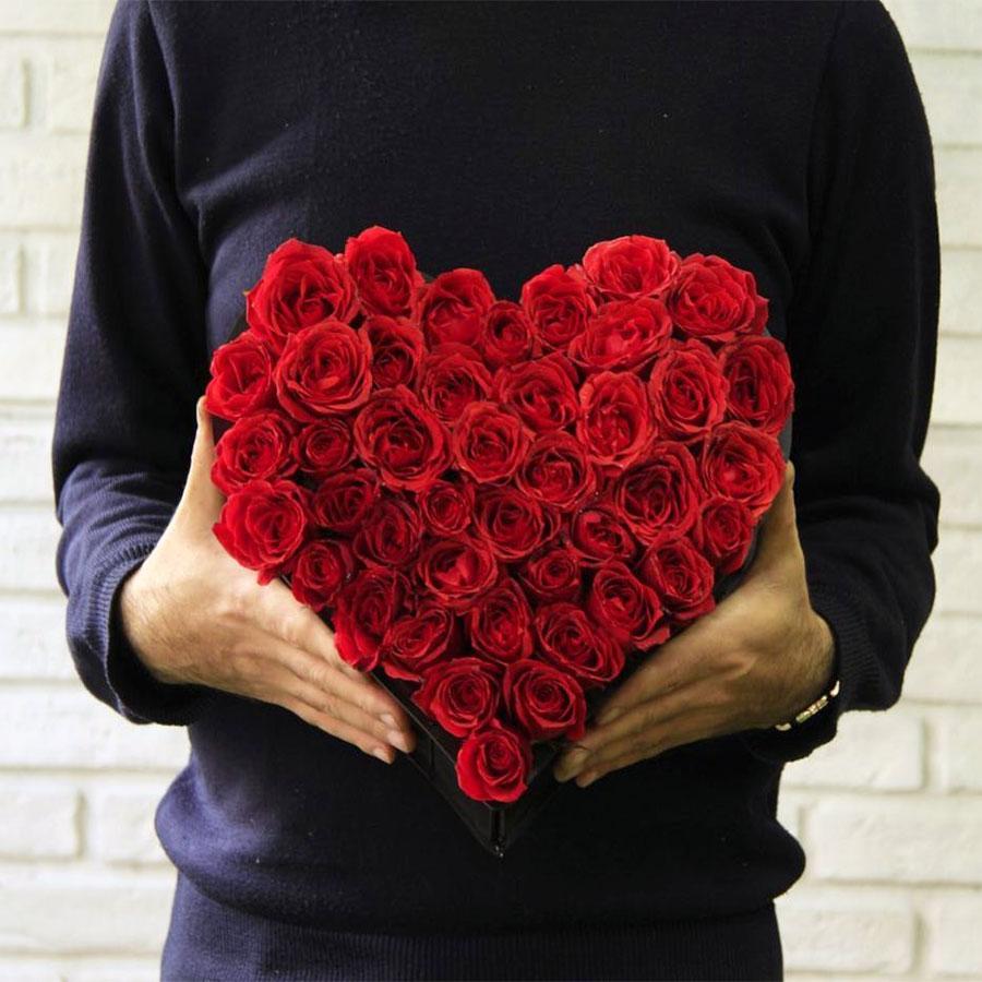 باکس قلب گل رز قرمز