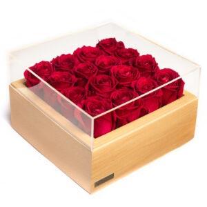 باکس چوبی کرم رنگ گل رز