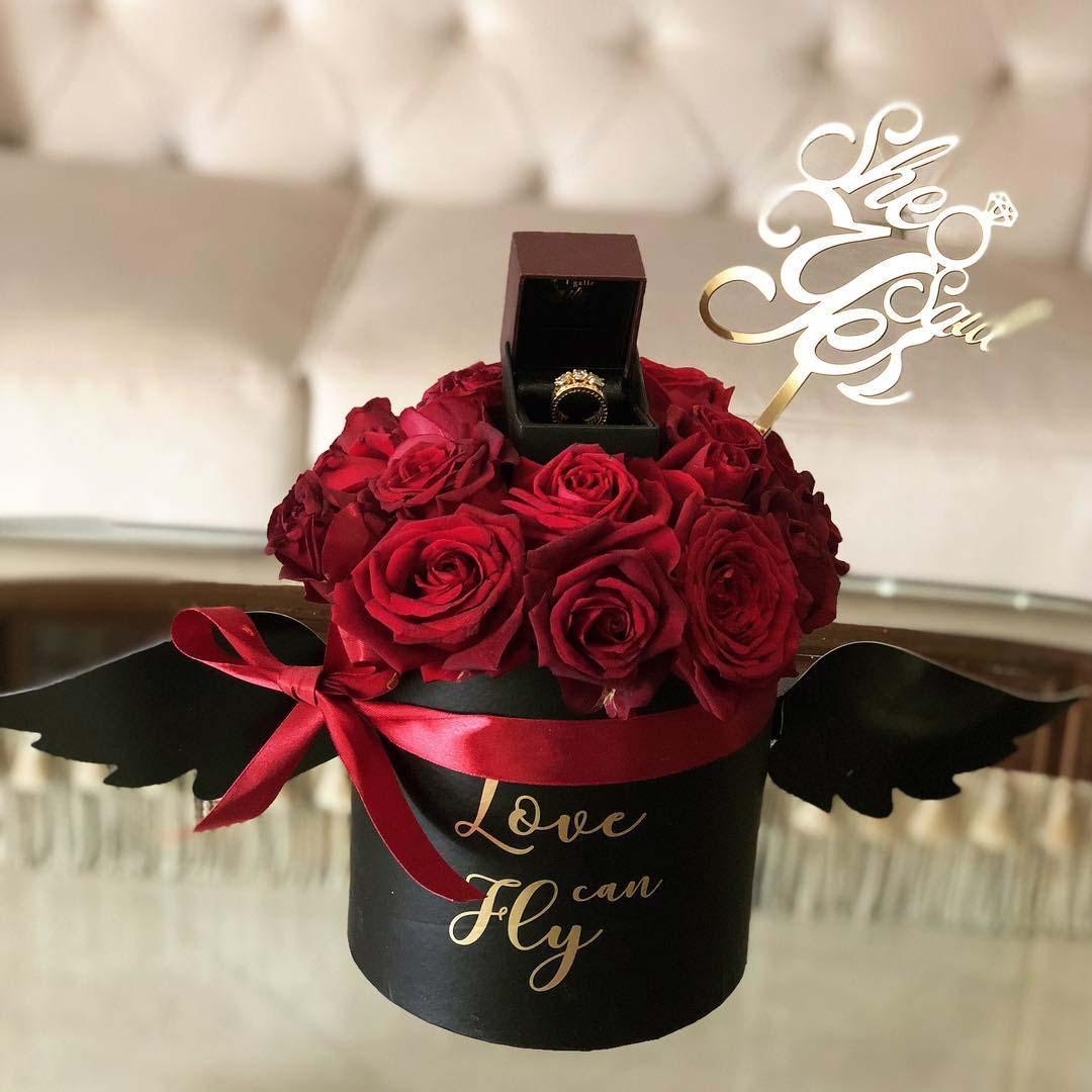 باکس گل درخواست ازدواج با حلقه نامزدی