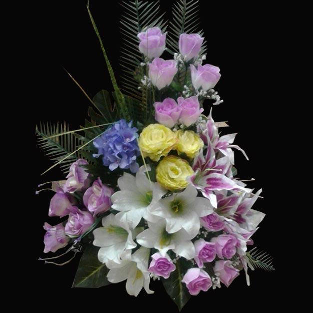 تاج گل تبریک و عروسی ارزان با ترکیب رنگ بنفش
