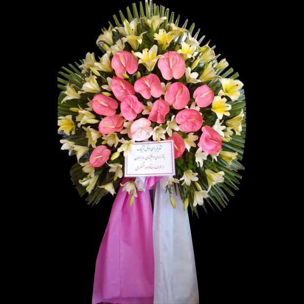 تاج گل آنتریوم تقدیم برای عرض تبریک