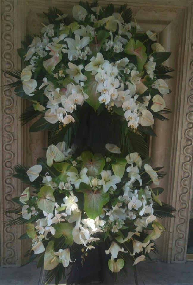 تاج گل دو طبقه فانتزی سه متری آنتوریوم لیلیوم آلسترومریا ارکیده