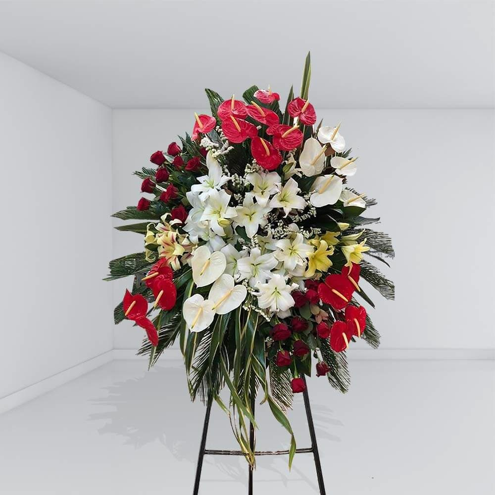 تاج گل رز لیلیوم و آنتوریوم