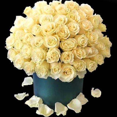 جعبه یشمی رنگ گل رز سفید