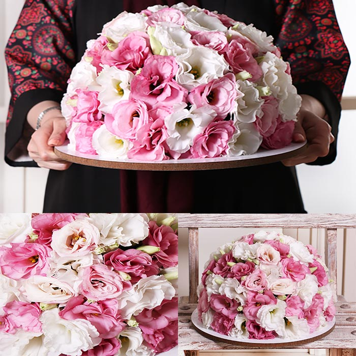 دسته گل زیبا سینی شکل لیسیانتوس